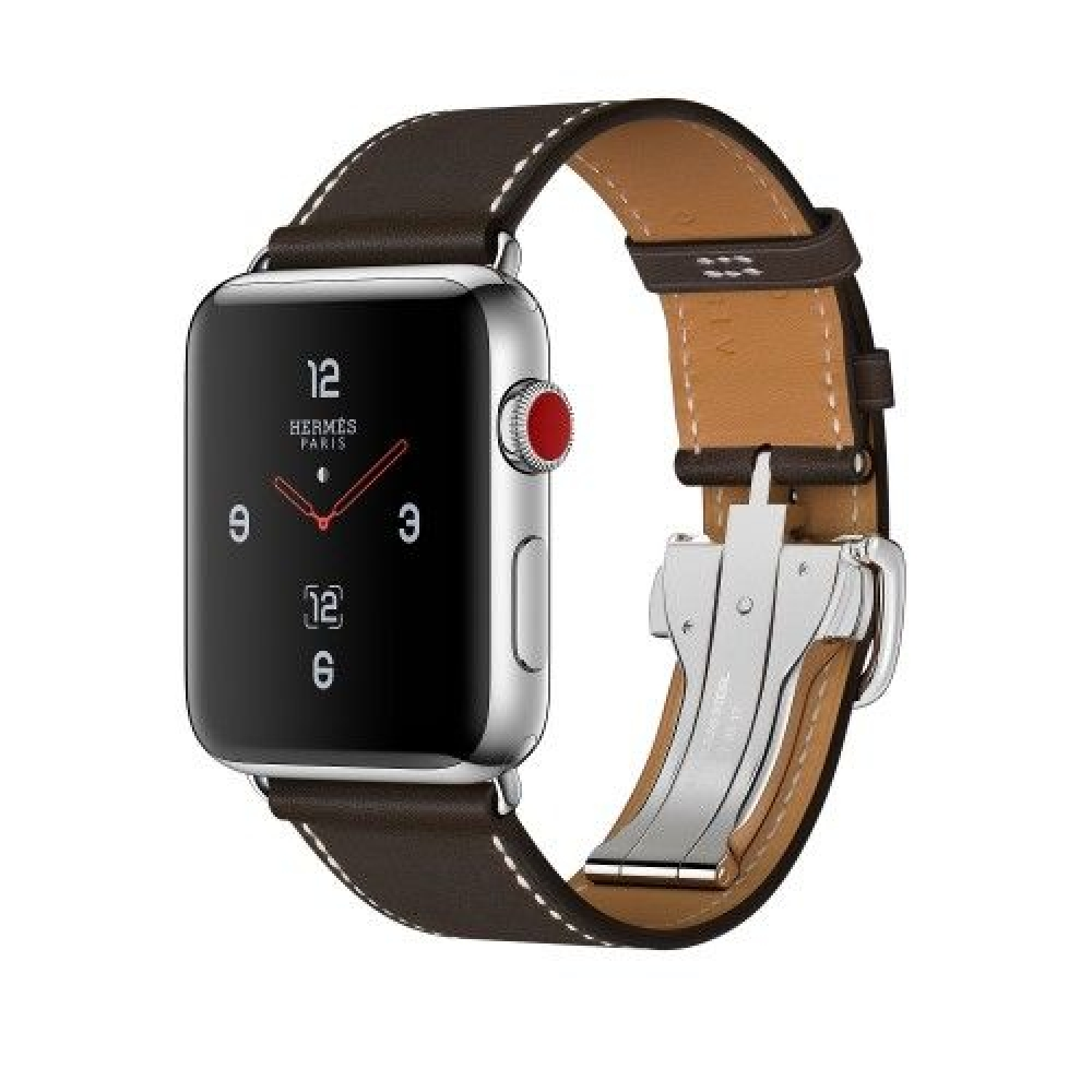 Apple Watch Hermes 42 mm silver/Simple Tour Barenia leather Fauve colors with folding clasp